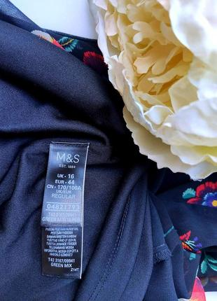 Нарядное черное платье с цветочным  принтом длинные рукава  от marks & spencer3 фото