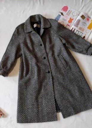 Пальто шерстяное базовое серое 18 размер