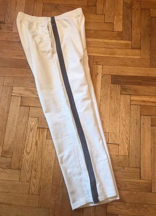 Споривные,широкие штаны с лампасом,коттон