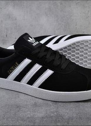 Женские кроссовки adidas gazelle черные, осенние