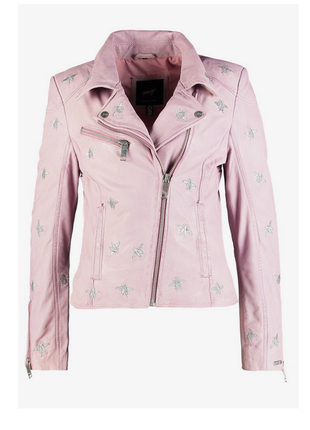 Новая косуха maze германия кожаная косуха с вышивкой микро нюанс куртка розовая пудра
