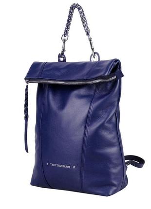 Новый кожаный рюкзак trussardi оригинал 100% кожа большой синий