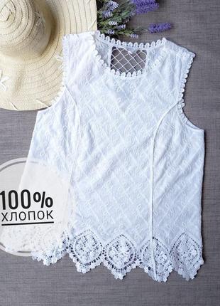 Красивая вышитая хлопковая блуза с кружевом кроше falmer heritage.