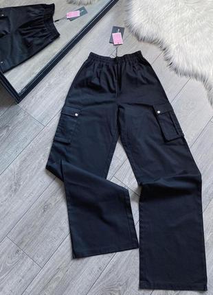Черные брюки карго 🔥prettylittlething🔥 широкие брюки с накладными карманами