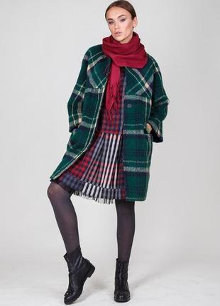Широкий шарф бордовый палантин с кистями турция