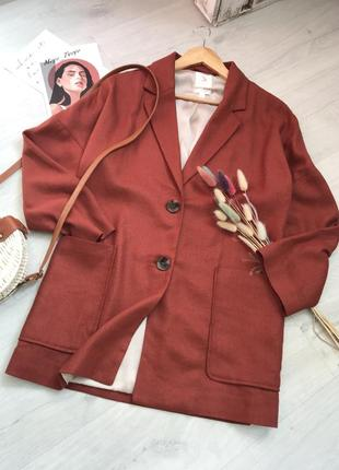 Пиджак удлиненный лён/вискоза