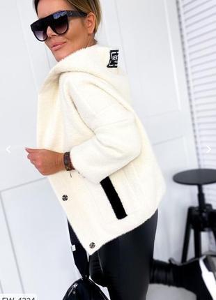 Куртка бомбер кардиган из альпаки с полосой на спине карманами и капюшоном лыс
