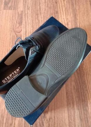 Синие кожаные мужские туфли4 фото