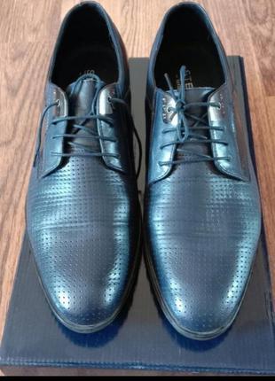 Синие кожаные мужские туфли2 фото