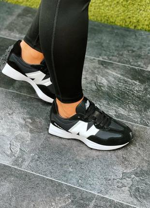 Женские кроссовки new balance 327 black/white2 фото