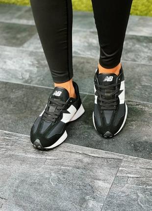 Женские кроссовки new balance 327 black/white3 фото
