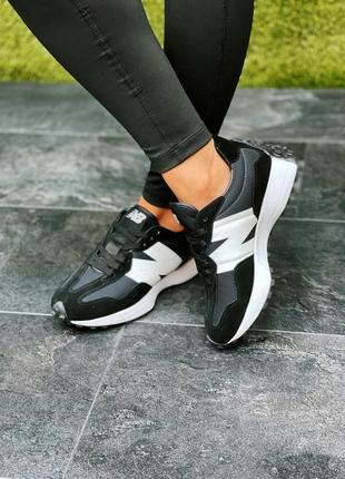 Женские кроссовки new balance 327 black/white8 фото