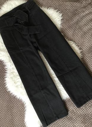 Кюлоты джинсовые графит 100% коттон высокая посадка next размер 8