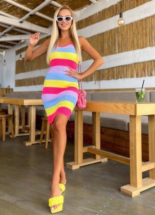 Разноцветное силуэтное вязаное платье майка в полоску турция