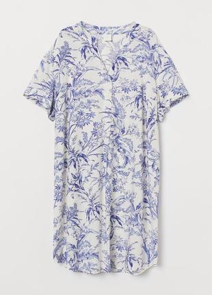 H&m платье свободного кроя из вискозы в цветочный принт
