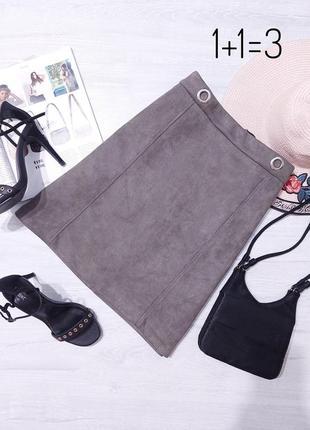 M&co базовая замшевая юбка m-l на талию трапеция мини короткая хаки замша тренд стильная