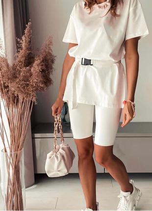 Женский костюм комплект удлиненная футболка пояс и велосипедки