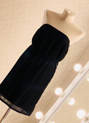 Шикарное короткое чёрное шифоновое платье сарафан
