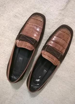 Кожаные туфли,лоферы,коричневые 38,5/25,5 см