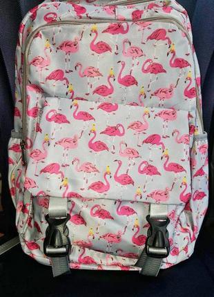 Светло серый рюкзак с розовым фламинго😍