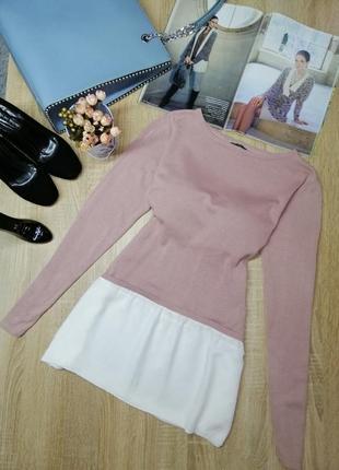 Нежная розовая туника с оборкой длинная стильная кофта на лето осень m s