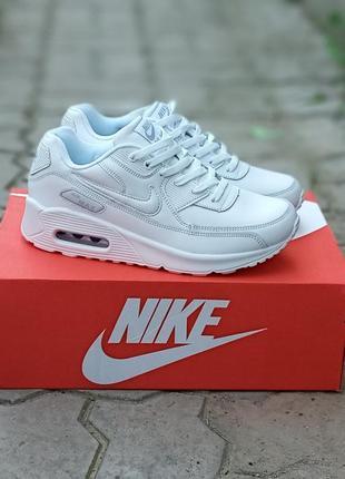 Женские кроссовки nike air max 90 кожаные, осенние, белые