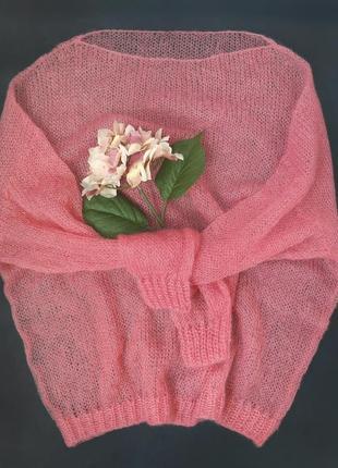 В наличии нежный джемпер свитер паутинка итальянский кидмохер цвет сакура