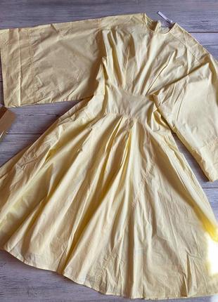 Шикарная лимонное платье миди asos коттон
