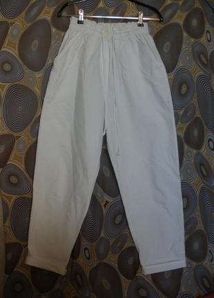 """Летние белые брюки """"бананы"""" st. michael высокая талия посадка"""