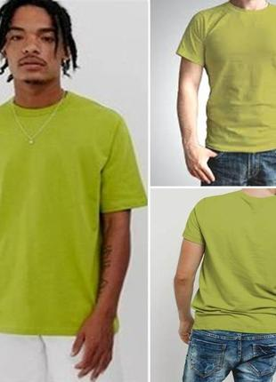 Мужская фирменная футболка, однотонная футболка с круглым вырезом, цвет оливковый