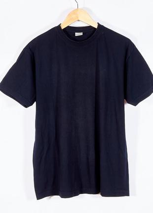 Мужская футболка темно-синяя, хлопковая футболка мужская, однотонная футболка