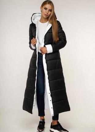 Зимний длинный женский пуховик 1202 черного цвета, р 44-58