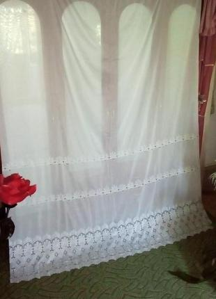 Богатая штора с вышивкой 235 см/занавеска/штора/карниз/ткань/платье/юбка/джинсы/тюль/скатерть