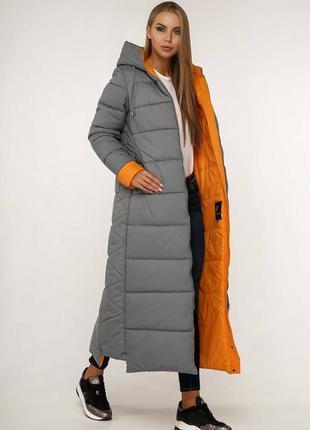 Зимний фабричный женский макси пуховик 1202 серый, р 44-58