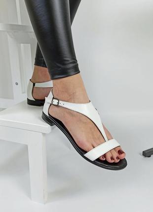 Босоножки женские кожаные белые сандали босоніжки sale