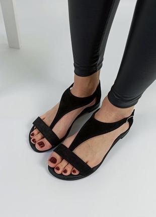 Босоножки женские замшевые черные сандали босоніжки sale