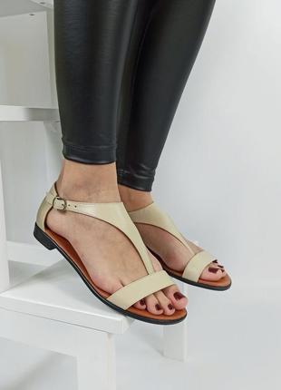 Босоножки женские кожаные беж босоніжки сандали sale