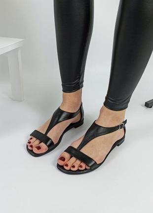 Босоножки женские кожаные черные сандали босоніжки sale