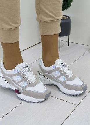 Женские кроссовки комбинированые, женские кроссовки на массивной подошве, молодежные кроссовки комбинированные