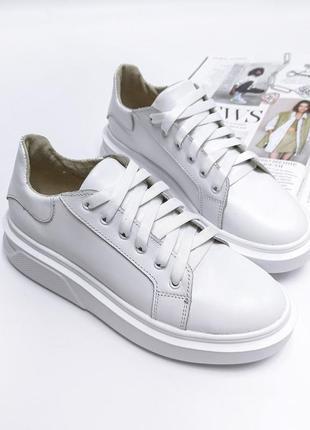 Белые кожаные кроссовки, кеды, женские, супер качество, р. 36-40