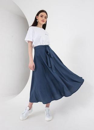 Синяя миди юбка с поясом натуральная