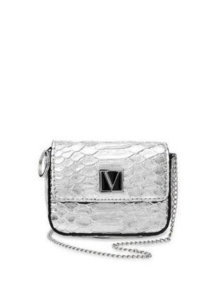 Стильная микро сумочка кошелекна цепочке серебристая 💕victoria's secret виктория сикрет вікторія сікрет
