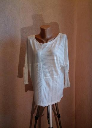 Белая кофта-кимоно лен