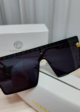 Солнцезащитные очки маска чёрные, женские стиль версаче