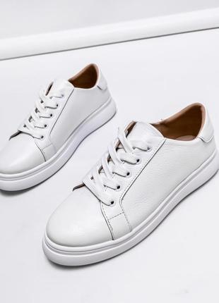 Белые кожаные кеды, мягкие, натур. кожа. р. 36-40