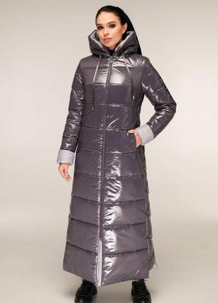 Зимнее брендовое лаковое макси пальто 1202 темно серый, р 44-58