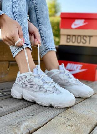 Adidas yeezy boost 500 blush женские замшевые кроссовки бежевого цвета