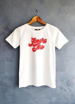 Новая стильная хлопковая белая футболка с надписью размер хс-с