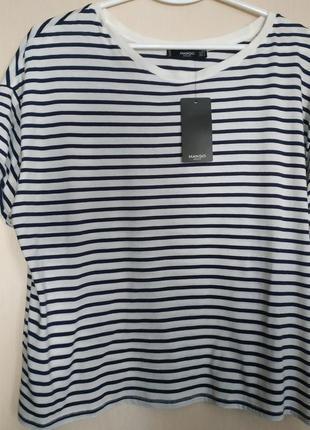 🤩💙💥полосатая футболка mango oversize💙🤩 р.m-l сине-белая полоска💙 🦓💙