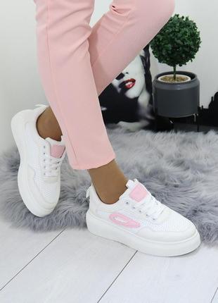 Женские кроссовки комбинированые белые, женские кроссовки на массивной подошве, женские кроссовки на платформе
